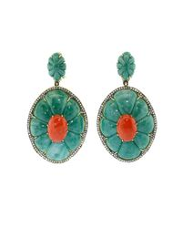 Silvia Furmanovich | Red Coral And Green Dumortierite Earrings | Lyst
