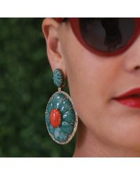Silvia Furmanovich - Red Coral And Green Dumortierite Earrings - Lyst