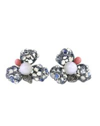 Arunashi | Clam Pearl And Blue Moonstone Flower Earrings | Lyst