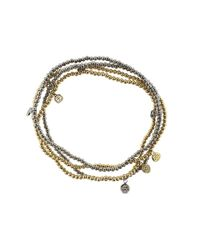 Sydney Evan | Metallic Baby Diamond Disc Charm Beaded Bracelet | Lyst
