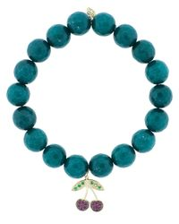 Sydney Evan - Blue Ruby And Emerald Cherry Charm Bracelet - Lyst
