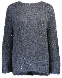 Brunello Cucinelli - Blue Macro Pailette Pullover - Lyst