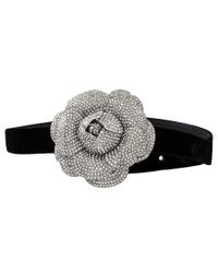 Oscar de la Renta - Black Crystal Flower Belt - Lyst