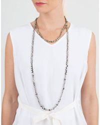 Brunello Cucinelli - Metallic Flat Bead Single Strand Necklace - Lyst