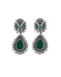 Fantasia Jewelry - Green Oval Drop Earrings - Lyst