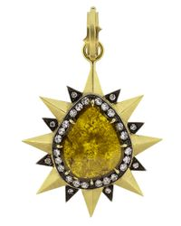 Sylva & Cie | Multicolor Pear Shape Diamond Slice Pendant | Lyst