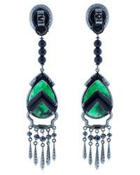 Wendy Yue - Green Emerald Drop Earrings - Lyst