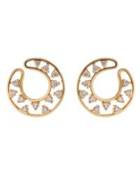 Dana Rebecca - Metallic Diamond Front Facing Hoop Earrings - Lyst