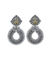 Fantasia Jewelry - Metallic Three Row Cubic Zirconia Drop Earrings - Lyst