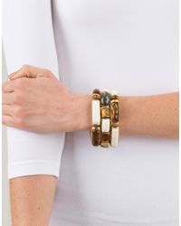 Vaubel - Metallic Link Rectangle Wood Bracelet - Lyst