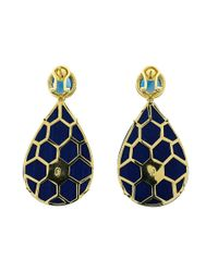 Silvia Furmanovich - Marquetry Blue Floral And Diamond Earrings - Lyst