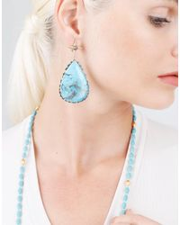 Sylva & Cie - Blue Pear Shape Turquoise Earrings - Lyst