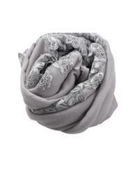 K. Janavi - Gray Floral Embroidered Scarf - Lyst