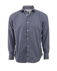 Eleventy - Blue Plaid Collared Shirt for Men - Lyst