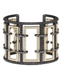 Nancy Newberg - Metallic Diamond Bracket Silver Frame Cuff - Lyst