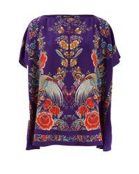 Roberto Cavalli | Purple Garden Print Top | Lyst