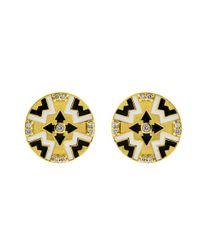 Buddha Mama - Multicolor Dainty Circle Tile Earrings - Lyst