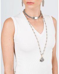 Sylva & Cie - Metallic Hematite Bead Necklace - Lyst