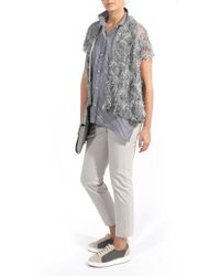 Brunello Cucinelli - Gray Floral Embroidered Cardigan - Lyst