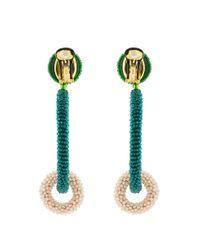 Oscar de la Renta - Green Two Tone Double Hoop Beaded Earrings - Lyst