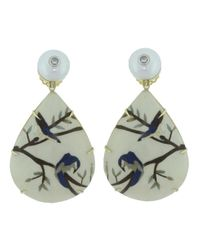 Silvia Furmanovich | Multicolor Marquetry Blue Bird Earrings | Lyst