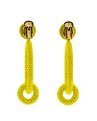 Oscar de la Renta - Yellow Double Hoop Beaded Earrings - Lyst