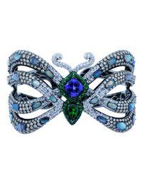 Wendy Yue Blue Tanzanite And Opal Butterfly Cuff Bracelet