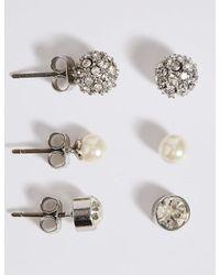 Marks & Spencer - Multicolor Pearl Effect Snowball Diamanté Stud Trio Earrings Set - Lyst