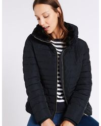 Marks & Spencer | Blue Padded Down & Feather Jacket With Stormweartm | Lyst