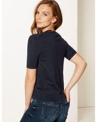 Marks & Spencer - Blue Round Neck Short Sleeve Jumper - Lyst