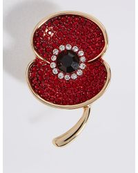 Marks & Spencer | Red Sparkle Poppy Brooch | Lyst