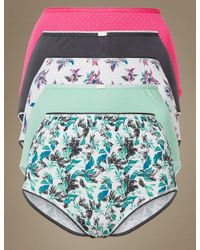 Marks & Spencer - Multicolor 5 Pack Cotton Rich Full Brief Knickers - Lyst