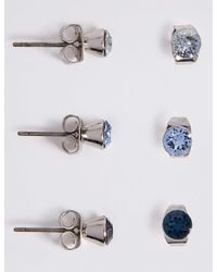 Marks & Spencer - Blue 3 Pack Stud Earrings Made With Swarovski Elements - Lyst