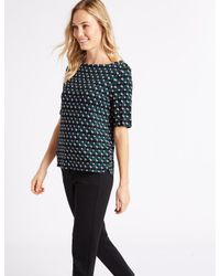 Marks & Spencer - Multicolor Printed Slash Neck Half Sleeve T-shirt - Lyst