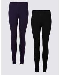 4e7ae9d2fdb55 Marks & Spencer. Women's 2 Pack Cotton Rich Leggings