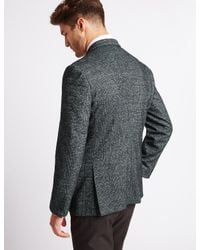 Marks & Spencer | Gray Wool Blend Knitted Check Jacket for Men | Lyst