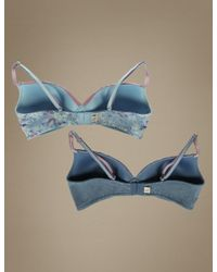 Marks & Spencer - Blue 2 Pack Slightly Padded Full Cup Bras - Lyst