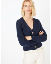 Marks & Spencer Blue Cotton Rich Button Detailed Cardigan Navy