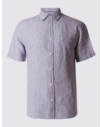 Marks & Spencer | Purple Pure Linen Easy Care Slim Fit Shirt for Men | Lyst