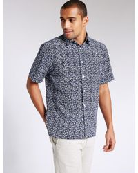 Marks & Spencer - Blue Easy Care Printed Shirt for Men - Lyst