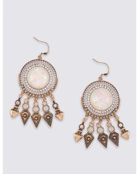 Marks & Spencer - Metallic Statement Craft Drop Earrings - Lyst