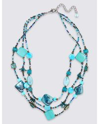 Marks & Spencer - Blue Shell Multi Row Necklace - Lyst