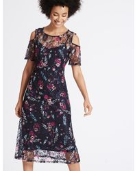 Marks & Spencer - Blue Floral Lace Cold Shoulder Skater Dress - Lyst