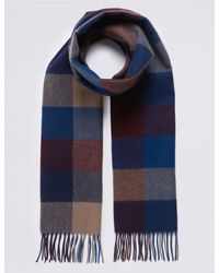 Marks & Spencer - Blue Pure Merino Wool Checked Scarf for Men - Lyst
