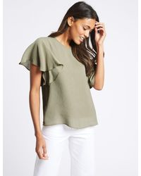 Marks & Spencer - Green Textured Flamenco Sleeve Round Neck Blouse - Lyst