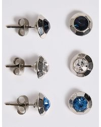 Marks & Spencer - Blue Diamanté Facet Stud Earrings Set - Lyst