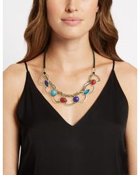 Marks & Spencer - Multicolor Set In Stone Links Collar Necklace - Lyst