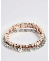 Marks & Spencer - Metallic Link Expander Bracelet Set - Lyst