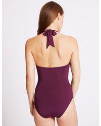 Marks & Spencer - Purple Secret Slimmingtm Plunge Swimsuit - Lyst