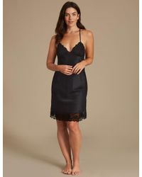 Marks & Spencer - Black Satin Strappy Chemise - Lyst